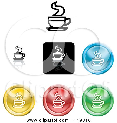 Clipart Illustration of a Collection of Different Colored Java Icon Buttons by AtStockIllustration