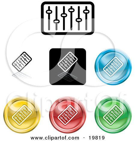 Clipart Illustration of a Collection of Different Colored Equalizer Icon Buttons by AtStockIllustration