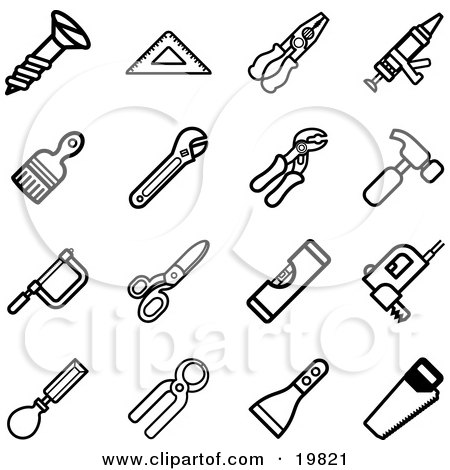 Clipart Illustration of a Collection Of Black And White Screw, Measuring Tools, Pliers, Glue Gun, Paintbrush, Wrenches, Hammer, Saws, Scissors, Levelers, And Scraper Icons On A White Background by AtStockIllustration