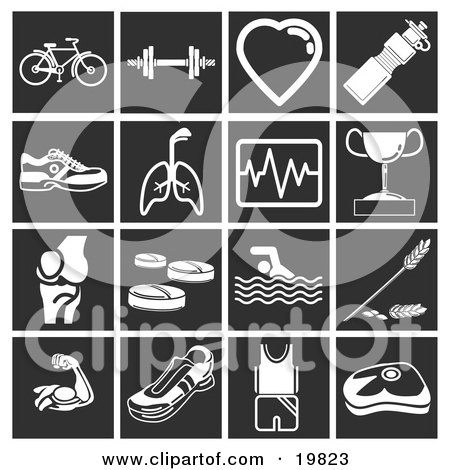 Clipart Illustration of a Collection Of White Sports Icons Over A Black Background, Including A Bicycle, Dumbells, Heart, Water Bottle, Running Shoes, Lungs, Graph, Trophy, Joint, Vitamins, Swimming, Wheat, Muscles, Shoes, Fitness Clothes, And A Weight Sc by AtStockIllustration