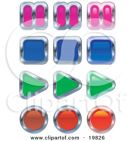 Clipart Illustration of a Collection Of Music Or Video Player Buttons; Pause, Stop, Play And Record by AtStockIllustration