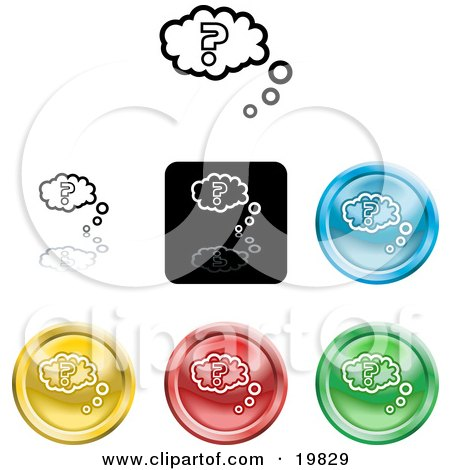 Clipart Illustration of a Collection of Different Colored Question Icon Buttons by AtStockIllustration
