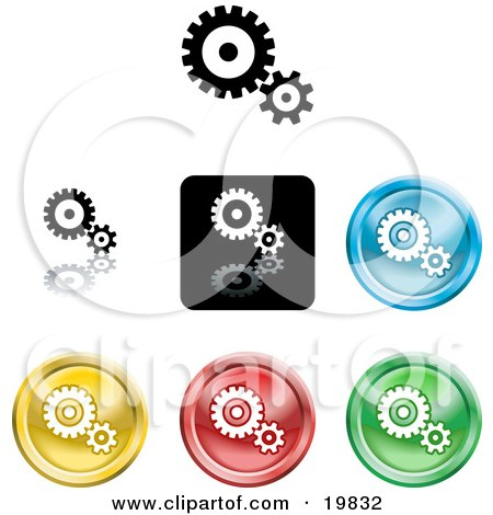 Clipart Illustration of a Collection of Different Colored Gears and Cogs Icon Buttons by AtStockIllustration
