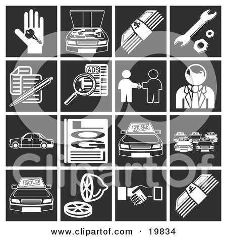 Clipart Illustration of a Collection Of White Automotive Icons Over A Black Background, Including A Car Key, Engine, Money, Tools, Documents, Classifieds, Car Dealer, Vehicles, Log, Car Lot, Lemon, And Handshake by AtStockIllustration