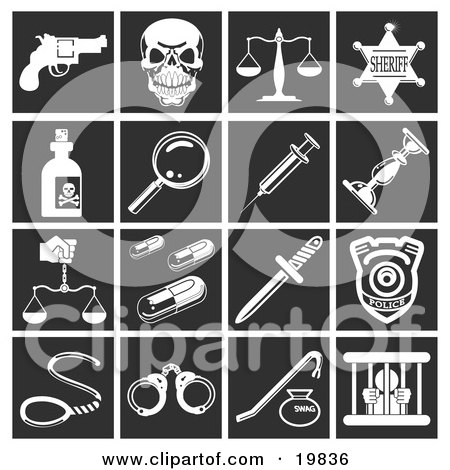 Clipart Illustration of a Collection Of White Crime Icons Over A Black Background, Including A Pistil, Skull, Scales, Sheriff Badge, Poison, Magnifying Glass, Needle, Candlestick, Pills, Knife, Police Badge, Handcuffs, And Prisoner by AtStockIllustration