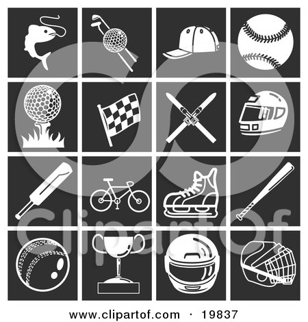 Clipart Illustration of a Collection Of White Sports Icons Over A Black Background, Including Fishing, Golfing, Baseball, Racing, Skiing, Motorsports, Bicycling, Cricket, And Ice Skating by AtStockIllustration