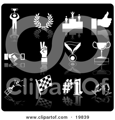 Clipart Illustration of a Collection Of White Champion, Laurel, Winner, Thumbs Up, Handshake, Peace Gesture, Medal, Trophy, Champagne, Flag, Number 1 And Toasting Wine Glasses Sports Icons On A Black Background by AtStockIllustration