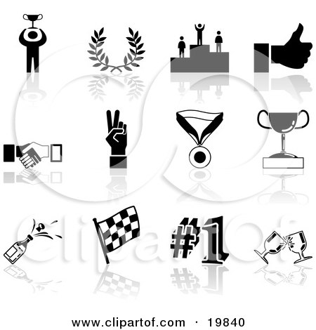 Clipart Illustration of a Collection Of Black Champion, Laurel, Winner, Thumbs Up, Handshake, Peace Gesture, Medal, Trophy, Champagne, Flag, Number 1 And Toasting Wine Glasses Sports Icons On A White Background by AtStockIllustration