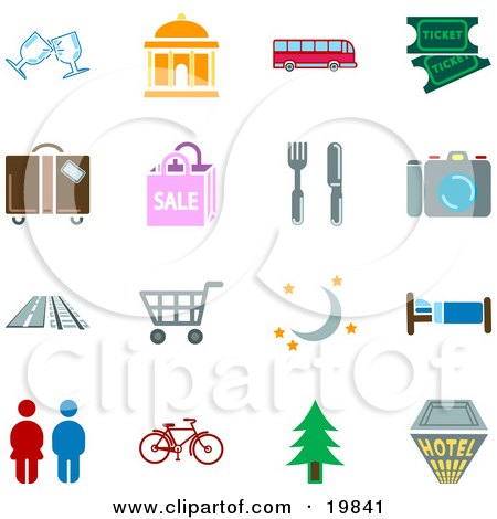 Clipart Illustration of a Collection Of Color Travel Icons For Locations Including Wine Glasses, Courthouse, Bus, Movie Tickets, Luggage, Sale, Fork And Knife, Camera, Road, Train Tracks, Shopping Cart, Moon And Stars, Bed, Restrooms, Bicycle, Tree, And A by AtStockIllustration