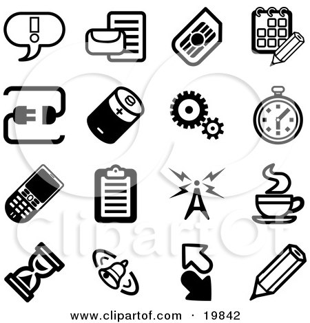 Clipart Illustration of a Collection Of Black And White Exclamation Point, Letter, Calendar, Connection, Battery, Gears, Stopwatch, Cellphone, Clipboard, Communications Tower, Java, Hourglass, Bell, Arrows And Pencil Icons On A White Background by AtStockIllustration