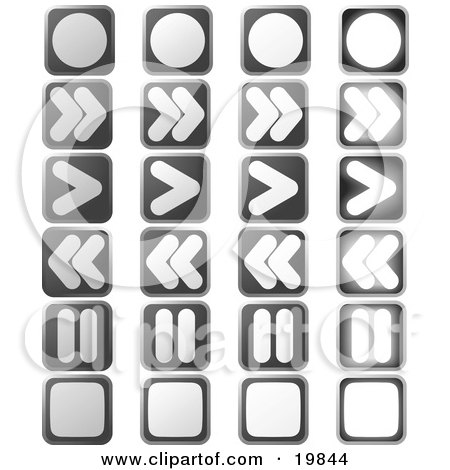 Clipart Illustration of a Collection Of Music Or Video Player Buttons; Record, Fast Forward, Play, Rewind, Pause And Stop by AtStockIllustration