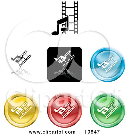 Clipart Illustration of a Collection of Different Colored Media Music and Film Icon Buttons Icon Buttons by AtStockIllustration