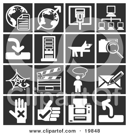 Clipart Illustration of a Collection Of White Icons Over A Black Background, Including Globes, Communications, Computers, A Dog, Files, Clapboard, Messenger, And A Letter by AtStockIllustration