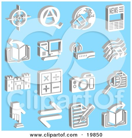 Clipart Illustration of a Collection Of White Icons Of A Viewfinder, Questions And Answers, Home And Globe, News, Book, Computer, Wireless Router, Music Notes, Castle, Math Symbols, Camera, Magnifying Glass, Button And Letter, Over A Blue Background by AtStockIllustration