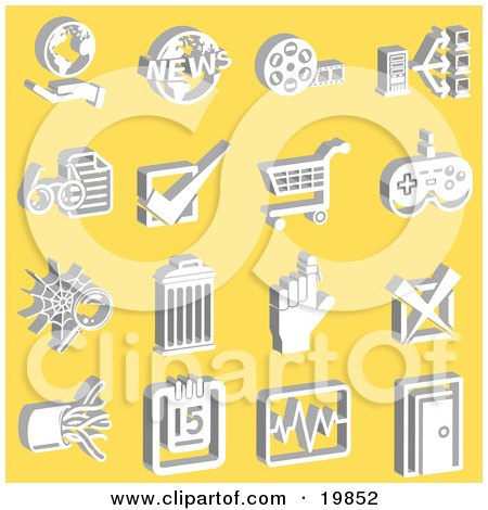 Clipart Illustration of a Collection Of White Hand And Globe, News, Film Reel, Connectivity, Check, Shopping Cart, Video Game Controller, Reminder, Cables, Calendar, Charts, And Door Icons Over A Yellow Background by AtStockIllustration