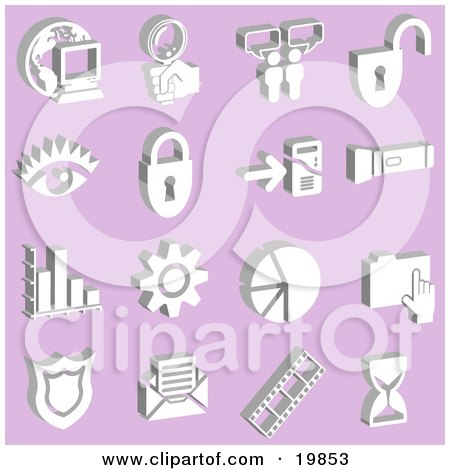 Clipart Illustration of a Collection Of White Icons Of A Computer, Globe, Magnifying Glass, Messenger, Padlock, Eye, Mp3 Player, Flashlight, Graph, Cog, Pie Chart, Folder, Badge, Envelope, Film Strip And Hourglass Over A Purple Background by AtStockIllustration