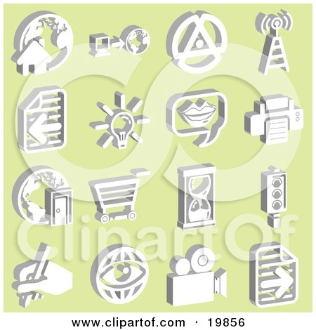 Clipart Illustration of a Collection Of White Icons Of A Home With A Globe, Computer, Tower Signals, Letter, Lightbulb, Messenger, Printer, Shopping Cart, Hourglass, Street Light, Eye, And Video Camera, Over A Yellow Background by AtStockIllustration