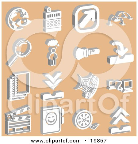 Clipart Illustration of a Collection Of White Eye And Globe, Cash Register, Arrow, Magnifying Glass, Thought Bubble, Flashlight, Phone, Computer, Clapboard, And Film Reel Icons Over An Orange Background by AtStockIllustration