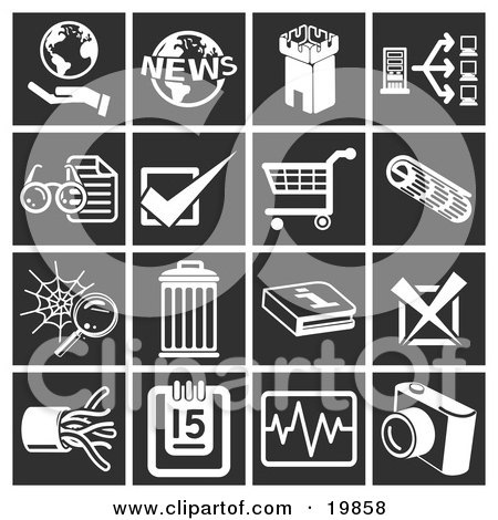 Clipart Illustration of a Collection Of White Icons Over A Black Background, Including A Hand Holding A Globe, World News, Fortress Tower, Computer, Eyeglasses And Letter, Checking, Shopping Cart, Spiderweb, Trash Can, Information, X, Cables, Calendar, Ch by AtStockIllustration
