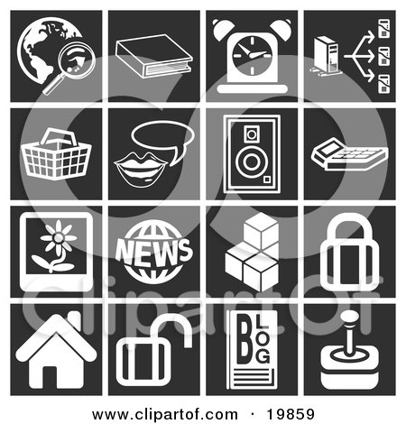 Clipart Illustration of a Collection Of White Icons Over A Black Background, Including A Magnifying Glass And Globe, Book, Alarm Clock, Computer, Basket, Messenger, Speaker, Calculator, Flower Picture, News, Cubes, Padlock, House, Blog And Joystick by AtStockIllustration