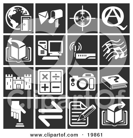Clipart Illustration of a Collection Of White Icons Over A Black Background, Including A Doorway And Globe, Mailbox, Target, Question And Answer, Book, Computer, Wireless Router, Music Notes, Castle, Math Signs, Camera, Book, Button, And A Letter by AtStockIllustration