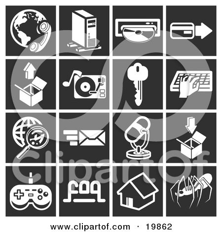 Clipart Illustration of a Collection Of White Icons Over A Black Background, Including A Phone And Globe, Computer Tower, Cd, Credit Card, Box, Record Player, Key, Person Typing, Magnifying Glass And Globe, Email, Microphone, Video Game Controller, House  by AtStockIllustration