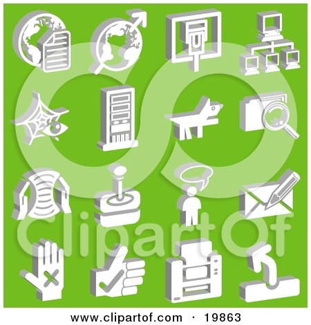 Clipart Illustration of a Collection Of White Letter And Globe, Arrow And Globe, Connection, Network, Dog, File, Letter, Joystick, Messenger, And Hand Icons Over A Green Background by AtStockIllustration
