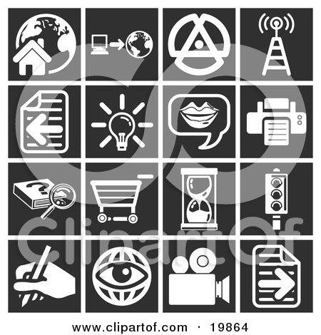 Clipart Illustration of a Collection Of White Icons Over A Black Background, Including A House, Computer And Globe, Signals Tower, Letter, Lightbulb, Messenger, Printer, Research, Shopping Cart, Hourglass, Stop Light, Writing, Eyeball, And A Video Camera by AtStockIllustration