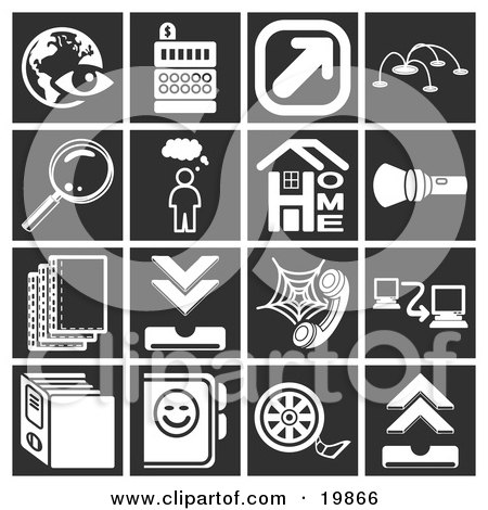 Clipart Illustration of a Collection Of White Icons Over A Black Background, Including An Eye Over A Globe, Cash Register, Arrow, Magnifying Glass, Thought Bubble, Home, Flashlight, Letters, Telephone, Networking, Files, And Film Reel by AtStockIllustration