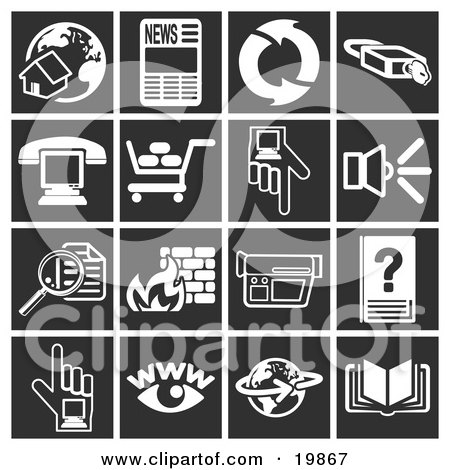 Clipart Illustration of a Collection Of White Icons Over A Black Background, Including A Home And Globe, Newspaper, Refresh Arrows, Padlock, Phone Over A Computer, Shopping Cart, Hand Pointing, Speaker, Magnifying Glass, Fire, Video Camera, Www, Globe And by AtStockIllustration