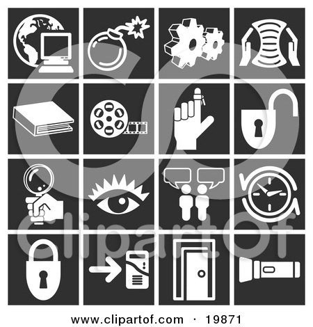 Clipart Illustration of a Collection Of White Icons Over A Black Background, Including A Computer Over A Globe, Bomb, Cogs, Letter, Book, Film Reel, Reminder On A Finger, Padlock, Magnifying Glass, Eye, Messenger, Clock, Doorway, And Flashlight by AtStockIllustration