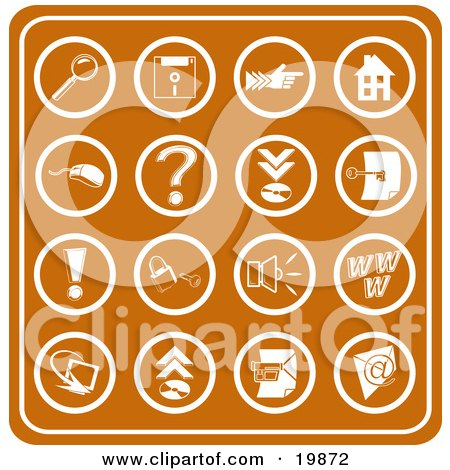 Clipart Illustration of a Collection Of Orange Web Icons Including A Magnifying Glass, Disc, Pointer, Home, Computer Mouse, Question Mark, Key, Exclamation Point, Padlock, Speaker, Www, Screen, Camera And Email by AtStockIllustration