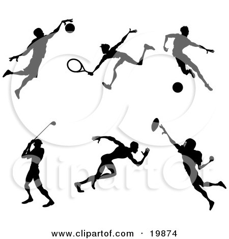 Clipart Illustration of a Collection Of Silhouetted Athletes Playing Basketball, Tennis, Soccer, Golf, Running And American Football by AtStockIllustration