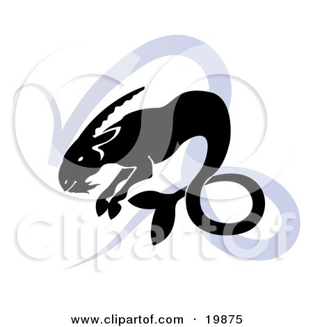 Clipart Illustration of a Silhouetted Sea Goat Over A Blue Capricorn Astrological Sign Of The Zodiac by AtStockIllustration