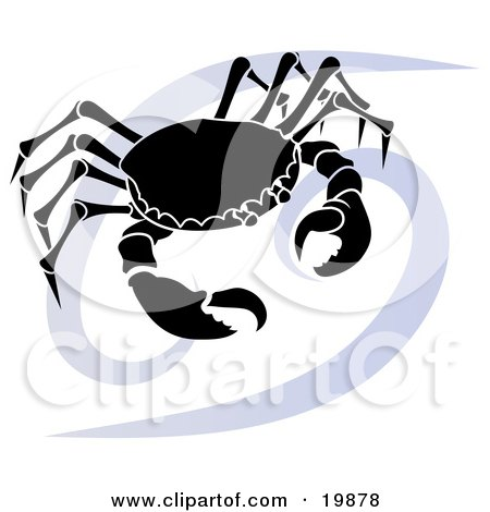 a silhouetted crab over a blue Cancer astrological sign of the zodiac.