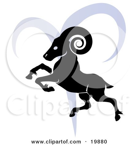 of a silhouetted ram over a blue Aries astrological sign of the zodiac.