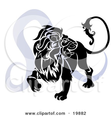 of a silhouetted lion over a blue Leo astrological sign of the zodiac.