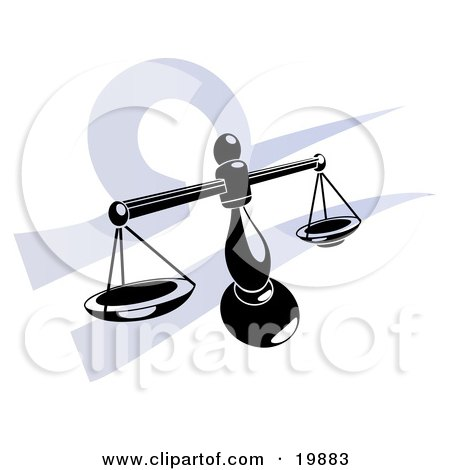 Clipart Illustration of Silhouetted Scales Over A Blue Libra Astrological Sign Of The Zodiac by AtStockIllustration