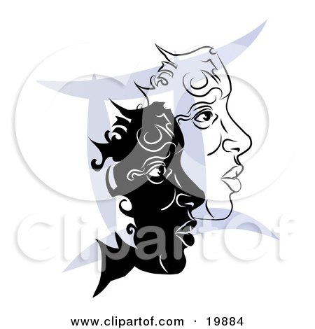 Clipart Illustration of Two Twin Faces Over A Blue Gemini Astrological Sign Of The Zodiac by AtStockIllustration