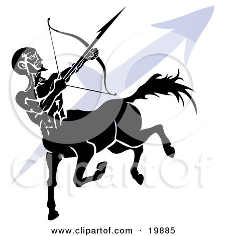 Clipart Illustration of a Silhouetted Centaur Shooting an Arrow Over A Blue Sagittarius Astrological Sign Of The Zodiac by AtStockIllustration