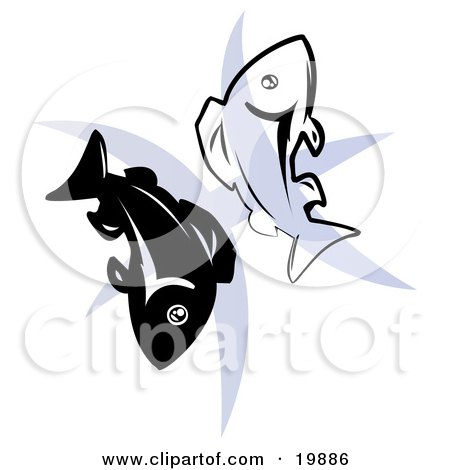 Clipart Illustration of Two Fish Over A Blue Pisces Astrological Sign Of The Zodiac by AtStockIllustration