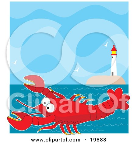 Clipart Illustration of a Cute, Big, Red Lobster Cartoon Character Swimming In The Sea Near A Lighthouse With Flying Seagulls by Maria Bell