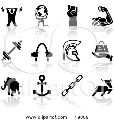 Clipart Illustration of a Collection Of Black Silhouette Strengh Icons Of A Weigh Tlifter, Man Holding Globe, Muscles, Weights, Helmet, Elephant, Anchor, Deer, And Links by AtStockIllustration