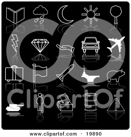 Clipart Illustration of a Collection Of Black And White Icons Of A Book, Rain Cloud, Crescent Moon, Sunshine, Tree, Lightning Bolt, Diamond, Hand, Car, Airplane, Luggage, Flag, Rocket, Aircraft Carrier, Person, And Roadway, On A Black Background by AtStockIllustration