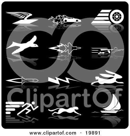 Clipart Illustration of a Collection Of White Silhouette Speed Icons Of An Envelope With Wings, Race Car With Flames, Race Car Tire, Bird, Jet, Super Man, Rocket, Lightning, Rabbit, Runner, Cheetah And Sailboat, Over A Black Background by AtStockIllustration
