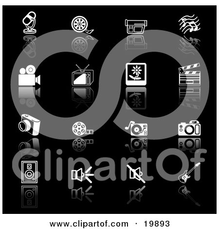 Clipart Illustration of a Collection Of Black And White Media Icons Of A Microphone, Film Reel, Video Camera, Music Notes, Tv, Polaroid Picture, Clapperboard, Camera, Film Strip, Record Player, Camera, Speakers, And Guitar, On A Black Background by AtStockIllustration