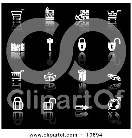 Clipart Illustration of a Collection Of Black And White Secure Checkout Icons Of Shopping Carts, Cash Register, Fire, Key, Castle, Padlocks, Tower, Globe And Credit Card, On A Black Background by AtStockIllustration