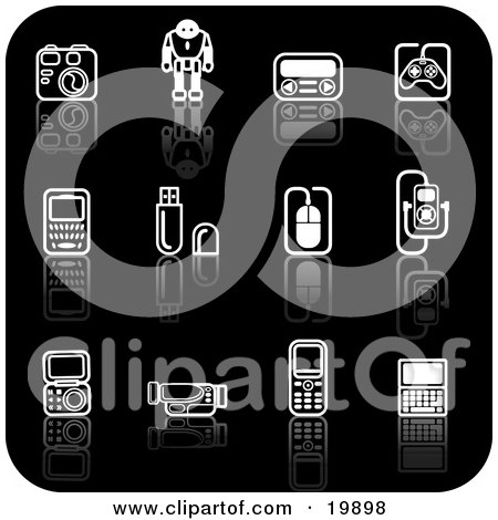 Clipart Illustration of a Collection Of Black And White Gadget Icons Of A Camera, Robot, Controller, Cell Phones, Memory Cards, Computer Mouse, Mp3 Player, And Video Camera On A Black Background by AtStockIllustration