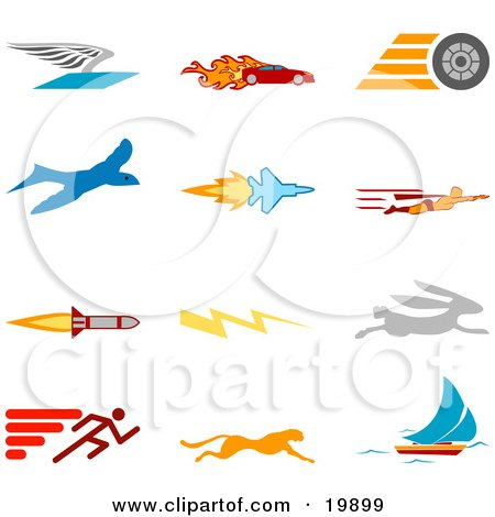 Clipart Illustration of a Collection Of Colorful Speed Icons Of A Winged Envelope, Flaming Race Car, Tire, Blue Dove, Flying Jet, Super Hero, Rocket, Lightning Bolt, Rabbit, Runner, Cheetah And Sailboat, Over A White Background by AtStockIllustration
