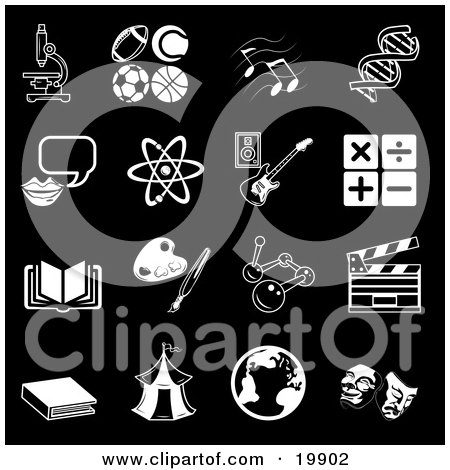 Clipart Illustration of a Collection Of Black And White School Subject Icons Of A Microscope, Football, Soccer Ball, Basketball, Tennis Ball, Music Notes, Dna, Messenger, Atom, Guitar, Multiply, Divide, Addition, Subtraction, Book, Paintbrush And Palette, by AtStockIllustration